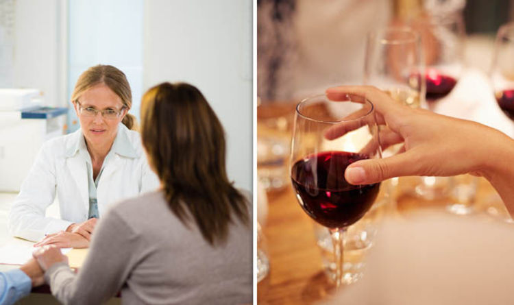 A doctor talking to a patient and a glass of red wine on the right.