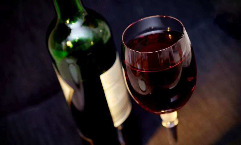 Image Showing Red Wine Bottle with Glass